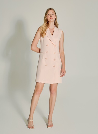 NGSTYLE Çift Düğmeli Blazer Elbise Pudra